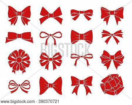 Decorative Bow Set. Red Gift Bows Silhouettes, Adornment Satin Ribbons For Present Boxes, Wedding Or