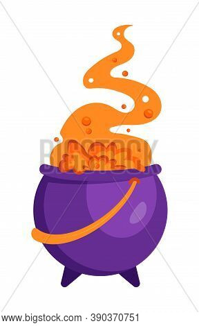 Halloween Witches Cauldron With Bubbling Orange Liquid And Smoke Isolated On White. Magic Potion. Sy