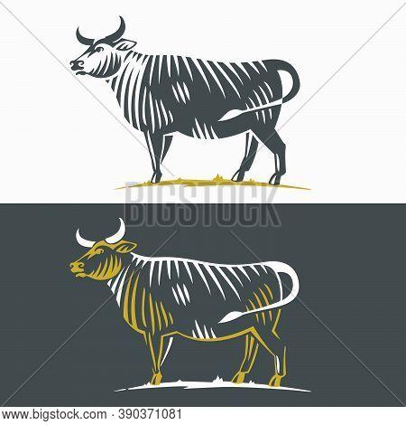 Black Angus Bull Silhouette Logo. Classic Emblem For Prime Beef Label, Steak Restaurant Identity, Ba
