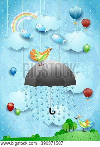 Surreal Landscape With Umbrella, Balloons, Birds And Flying Fisches. Vector Illustration Eps10