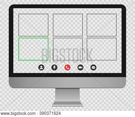 Desktop Computer Mockup With Online Video Call Template. Pc Desktop With Transparent Background. Gro