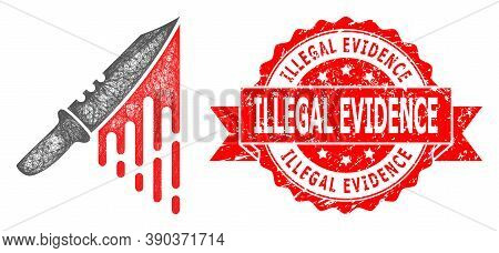 Wire Frame Blood Knife Icon, And Illegal Evidence Rubber Ribbon Watermark. Red Stamp Includes Illega