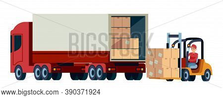 Loader Unloads Cargo From Truck. Delivery Service And Moving Concept. Logistic Transportation Forkli