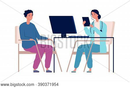 Medical Consultation. Doctor And Patient, Man On Appointment In Hospital. Isolated Virus Protection,
