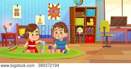 Room Boy. Kids Playing In Bedroom Apartment, Child Sitting On Carpet With Friend, Toys In Family Pla