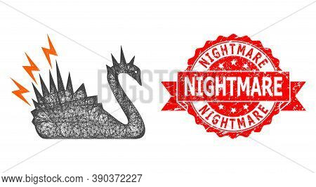Wire Frame Black Danger Swan Icon, And Nightmare Textured Ribbon Watermark. Red Stamp Contains Night