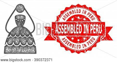Wire Frame Bride Icon, And Assembled In Peru Textured Ribbon Seal. Red Stamp Seal Contains Assembled