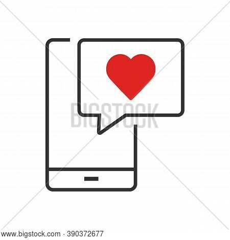 Smartphone With Heart Bubble. Cell Phone With Like And Heart Emoji Speech Bubble. Social Media Like