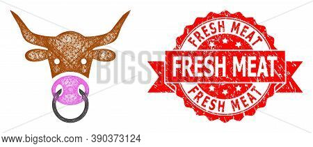 Network Bull Head Icon, And Fresh Meat Grunge Ribbon Stamp Seal. Red Stamp Seal Has Fresh Meat Title