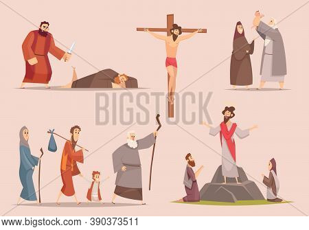 Christian Characters. Spiritually Antique Journey Holy Bible People Jewish Vector Narrative Vector P