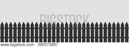 Wooden Fence On Transparent Background. Isolated Garden Barrier In Black Color. Simple Illustration