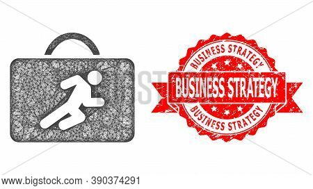 Network Career Case Icon, And Business Strategy Unclean Ribbon Stamp. Red Stamp Seal Has Business St