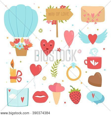 Love Concept Icons. Romance Symbols Marriage Flowers Hearts Envelope Cake Vector Flat Pictures Colle