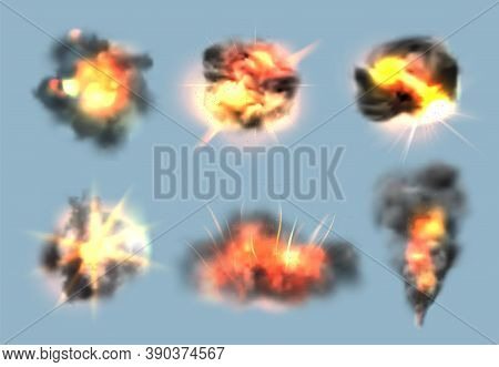 Dynamite Exploded Effects. Realistic Bomb Explosion With Fire And Smoke Clouds Vector Collection. Dy
