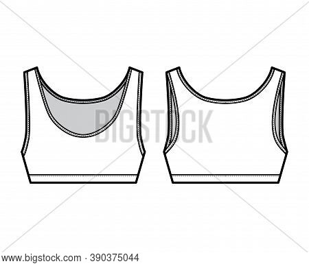 Sport Bra Lingerie Top Technical Fashion Illustration With Wide Shoulder Straps. Flat Brassiere Temp