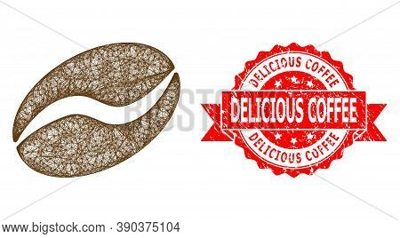 Net Cacao Bean Icon, And Delicious Coffee Textured Ribbon Stamp Seal. Red Stamp Seal Has Delicious C