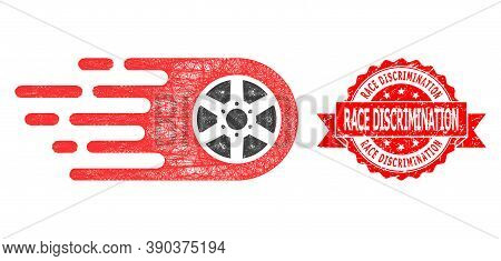 Network Bolide Wheel Icon, And Race Discrimination Rubber Ribbon Stamp Seal. Red Stamp Seal Includes