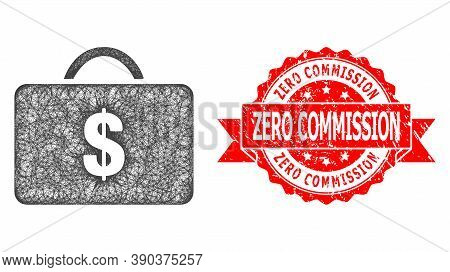 Net Business Case Icon, And Zero Commission Corroded Ribbon Stamp Seal. Red Stamp Seal Has Zero Comm