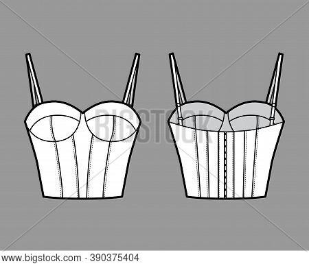 Bra Longline Lingerie Technical Fashion Illustration With Adjustable Shoulder Straps, Molded Cup, Ho