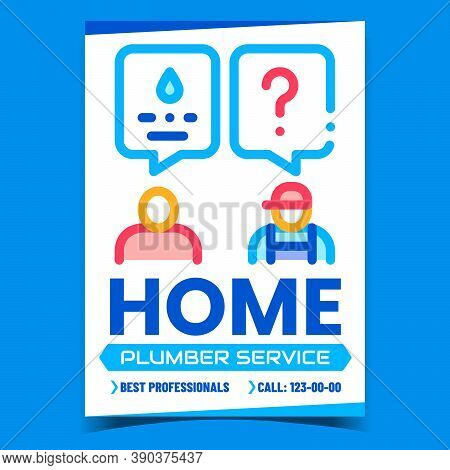 Home Plumber Service Creative Promo Poster Vector. Human Client And Plumber Worker Discussing Advert
