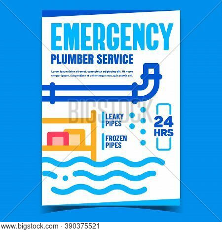 Emergency Plumber Service Promo Banner Vector. Frozen And Leaky Pipes Plumbing Repair Service Advert