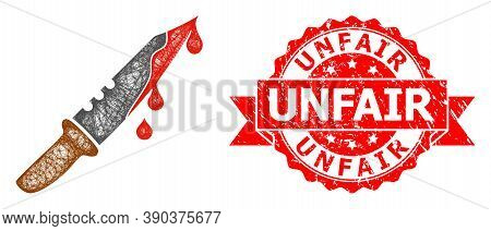 Wire Frame Blood Knife Icon, And Unfair Grunge Ribbon Stamp Seal. Red Stamp Seal Contains Unfair Tit