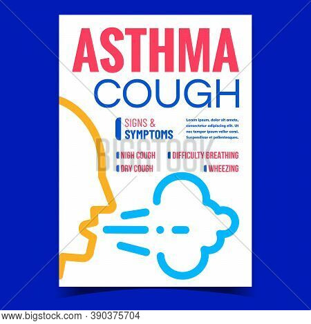 Asthma Cough Creative Promotional Poster Vector. Dry Coughing, Wheezing And Difficulty Breathing Ast