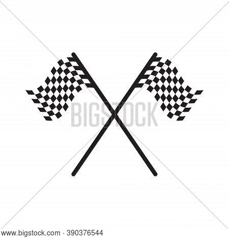 Chequered Flag Icon. Checkered Black And White Sign. Motor Sport Race Finish Symbol. Victory Champio