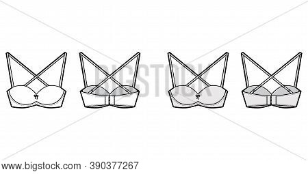 Bra Convertible Balconette Lingerie Technical Fashion Illustration With Shoulder Straps, Hook-and-ey