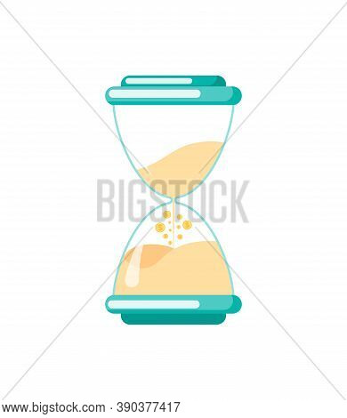 Hourglass With Sand Flowing Down Isolated Antique Watch. Vector Countdown Timer, Time Measuring Inst
