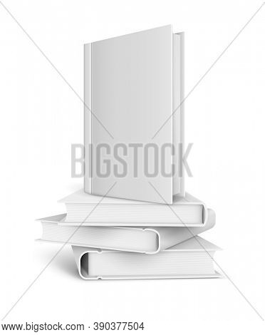 Book template with blank cover and pile of books. isolated on white transparent background. 3D illustration.