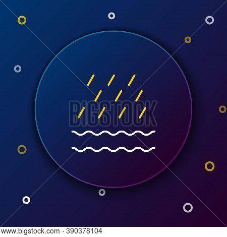 Line Rain And Waves Icon Isolated On Blue Background. Rain Cloud Precipitation With Rain Drops. Colo
