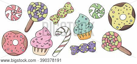 Cute Donuts, Sweets, Cupcakes With Eyes, Icing And Sprinkling Of Pink, Yellow, Lilac Flowers, Vector
