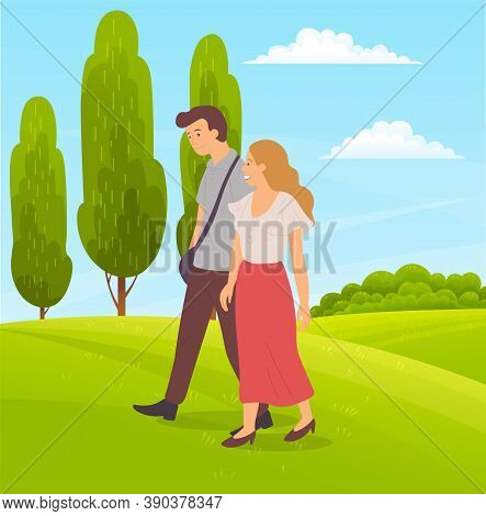 Romantic Couple Walks On Green Field, Tall Succulent Trees, Forest Plants, Succulent Meadows, Meadow