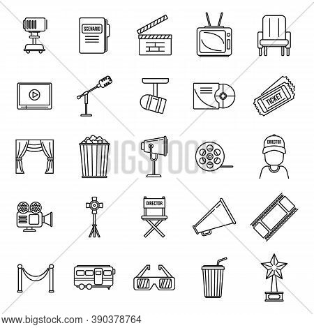 Studio Stage Director Icons Set. Outline Set Of Studio Stage Director Vector Icons For Web Design Is