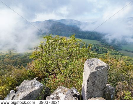 Milesovka Mountain Seen From Ostry Above Morning Fog