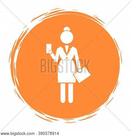 White Simplified Silhouette Of Businesswoman With Case And Smartphone On Orange Round Background. Lo