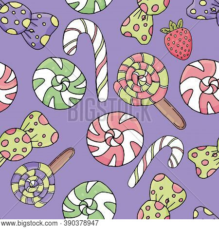 Cute Candies And Sweets With Eyes, Icing And Sprinkling Of Pink Flowers On A Lilac Background, Cute