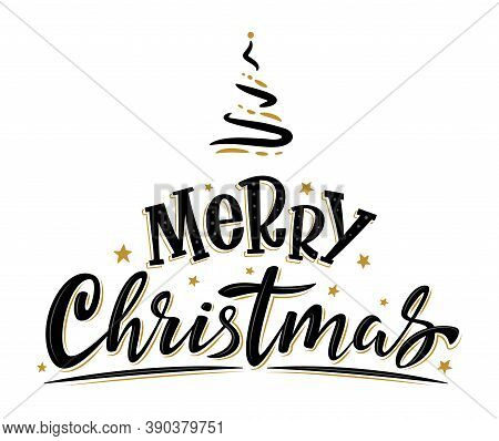 Merry Christmas Handwritten Lettering. Black Text With Golden Stars And Christmas Tree Isolated On W