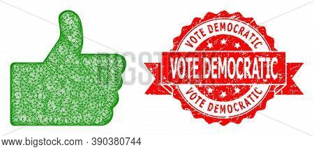 Wire Frame Thumb Up Icon, And Vote Democratic Grunge Ribbon Stamp Seal. Red Stamp Seal Has Vote Demo