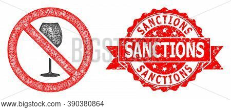 Wire Frame Forbidden Wine Icon, And Sanctions Corroded Ribbon Seal Print. Red Seal Includes Sanction