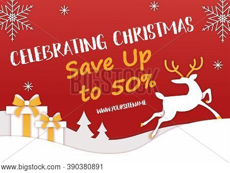 Horizontal Christmas Sale Banner. A Reindeer Rides Through A Snowy Forest. Gifts In Snowdrifts Or In