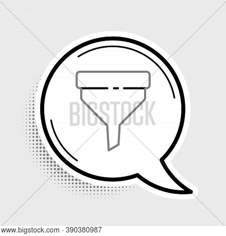 Line Funnel Or Filter Icon Isolated On Grey Background. Colorful Outline Concept. Vector