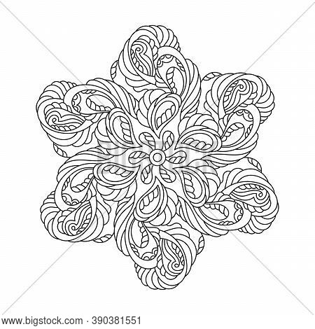 Mandala For Anti-stress Coloring Book Page. Abstract Pattern With Paisley And Other Elements. Vector