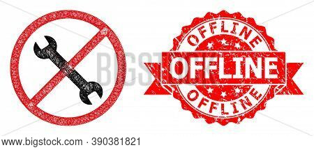 Network Forbidden Repair Icon, And Offline Corroded Ribbon Seal Imitation. Red Seal Contains Offline