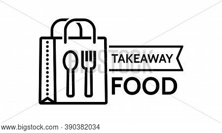 Food Delivery Paper Bag Icon. Lunch Linear Style Sign For Mobile Concept And Web Design. Take Away F