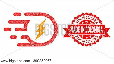 Net Electric Participle Icon, And Made In Colombia Rubber Ribbon Stamp Seal. Red Stamp Seal Has Made