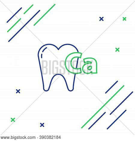 Line Calcium For Tooth Icon Isolated On White Background. Tooth Symbol For Dentistry Clinic Or Denti