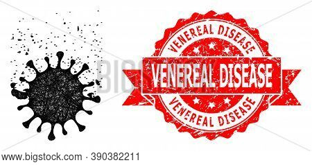 Network Virus Dissipation Icon, And Venereal Disease Dirty Ribbon Seal Print. Red Stamp Seal Contain