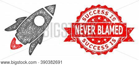 Wire Frame Space Rocket Icon, And Success Is Never Blamed Dirty Ribbon Seal. Red Stamp Has Success I